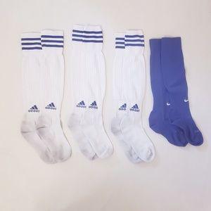Adidas Soccer Blue & White Socks,3 Pairs